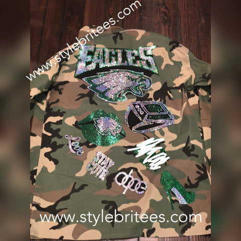 EAGLES CAMOUFLAGE BLING Patchwork JACKET