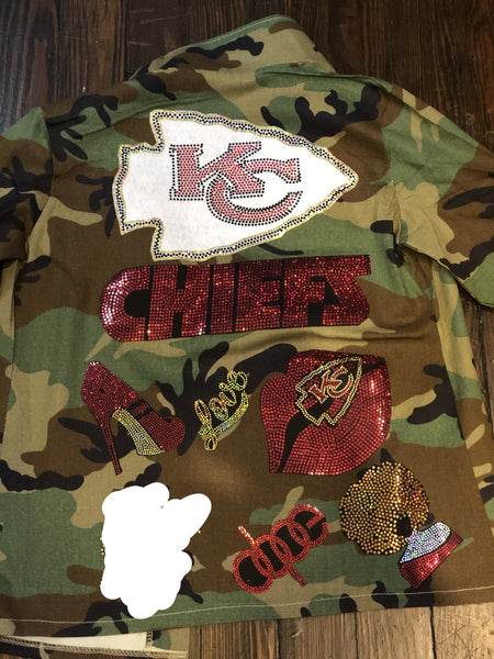 KC CHIEFS CAMOUFLAGE BLING Patchwork JACKET