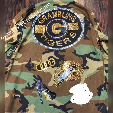 GRAMBLING Tigers CAMOUFLAGE BLING Patchwork JACKET