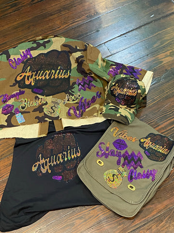 Aquarius Fist CROPPED CAMOUFLAGE BLING Patchwork JACKET