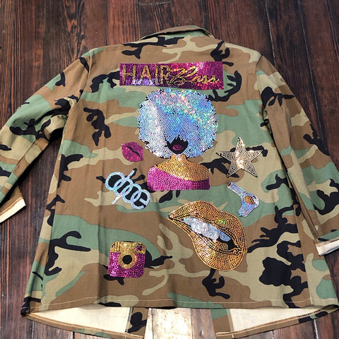 Hair Boss CAMOUFLAGE BLING Patchwork JACKET