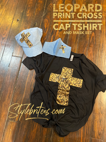 Leopard Print Cross CAP MASK & T-SHIRT SET