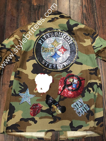 STEELERS CAMOUFLAGE BLING Patchwork JACKET