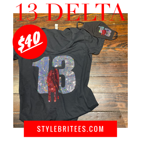 13 DELTA BLING T-SHIRT &  MASK SET