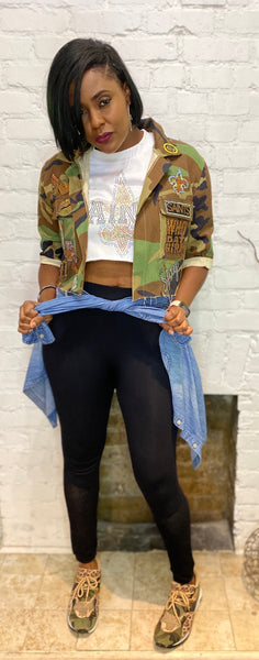 SAINTS CAMOUFLAGE CROPPED BLING Patchwork JACKET