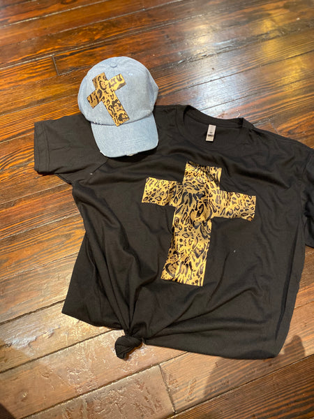 Leopard T-SHIRT &  Denim CAP Set