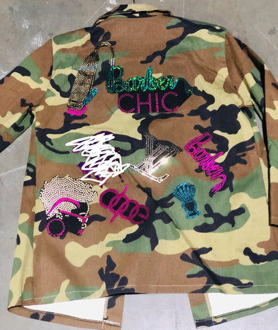Barber Chic CAMOUFLAGE BLING Patchwork JACKET