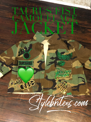 TAURUS FIST CROPPED CAMOUFLAGE BLING Patchwork JACKET