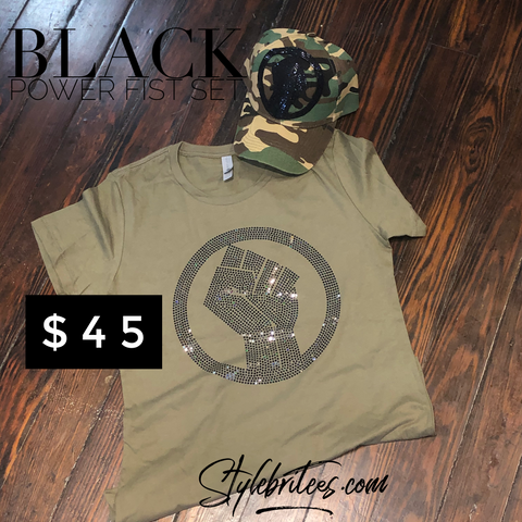 BLACK POWER FIST CAP & T-SHIRT SET
