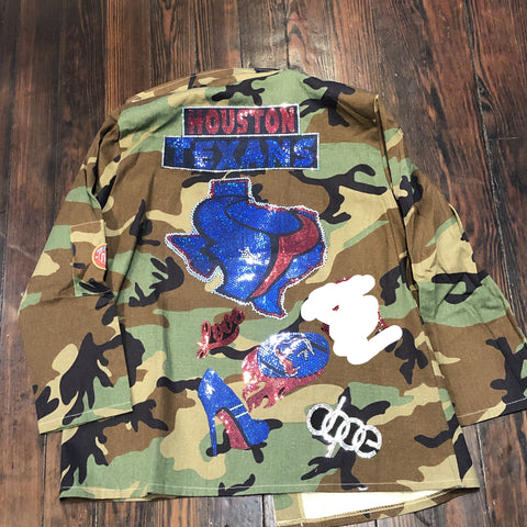 TEXANS CAMOUFLAGE BLING Patchwork JACKET