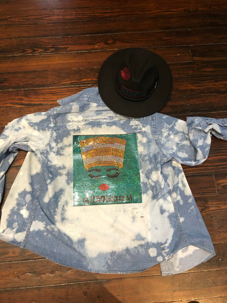CUSTOMIZED DISTRESSED DENIM SHIRT