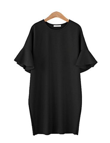 PLUS SIZE BLACK POPPY SLEEVE DRESS