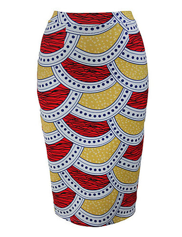 AFRICAN PRINT RED/BLUE PENCIL SKIRT