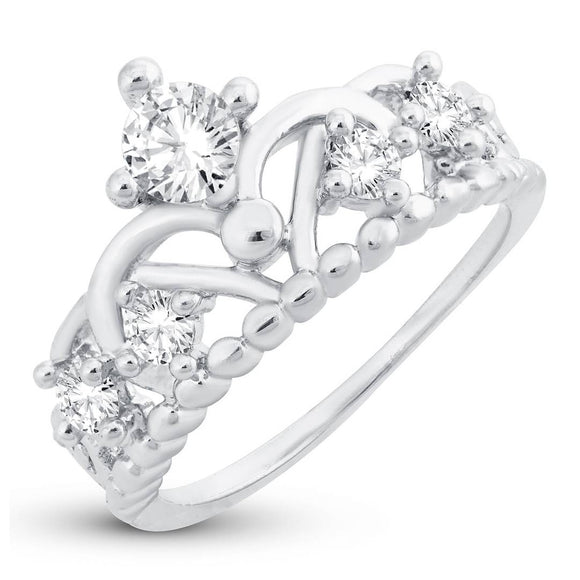 Stylish Royal Crown Engagement Rhodium Plated Ring For Women