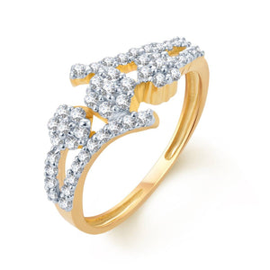 Glimmery Gold & Rhodium Plated Cz Ring