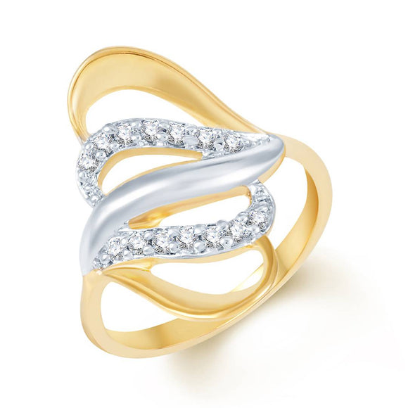 Beguiling Classy Gold & Rhodium Plated Cz Ring