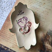 Load image into Gallery viewer, Hamsa Ceramic bowl, handmade pottery, ceramic hamsa hand, Spoon rest, Ring dish, jewelry dish, soap dish, lovebirds dish, spoon rest