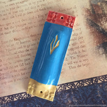 Load image into Gallery viewer, Mezuzah Case, Mezuzah , Ceramic mezuzah case, Modern mezuzah, Jewish art, Judaica wall art, Jewish Mothers Day gift, Wedding gift, Jewish.
