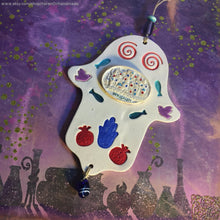 Load image into Gallery viewer, Ceramic Hamsa Hand, Ceramic Hamsa, Wall Decor Hamsa, Jerusalem Wall decor,Handmade Hamsa ,Hamsa Wall Hanging ,Mothers Day gift ,Luck Hamsa