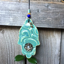 Load image into Gallery viewer, Green Ceramic Hamsa ,Ceramic Hamsa, Wall Decor Hamsa, evil eye protection, Handmade Hamsa, Hamsa Wall Hanging ,Mothers Day gift, Luck Hamsa