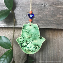Load image into Gallery viewer, Green ceramic hamsa wall hanging, hamsa wall decor, hamsa hand, love wall decor, hamsa wall art, Mothers Day gift, valentine gift