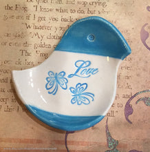 Load image into Gallery viewer, Bird shaped blue ring dish, bird shaped ring holder, ceramic bird ring dish, ceramic teabag holder, Valentines day gift, love home decor