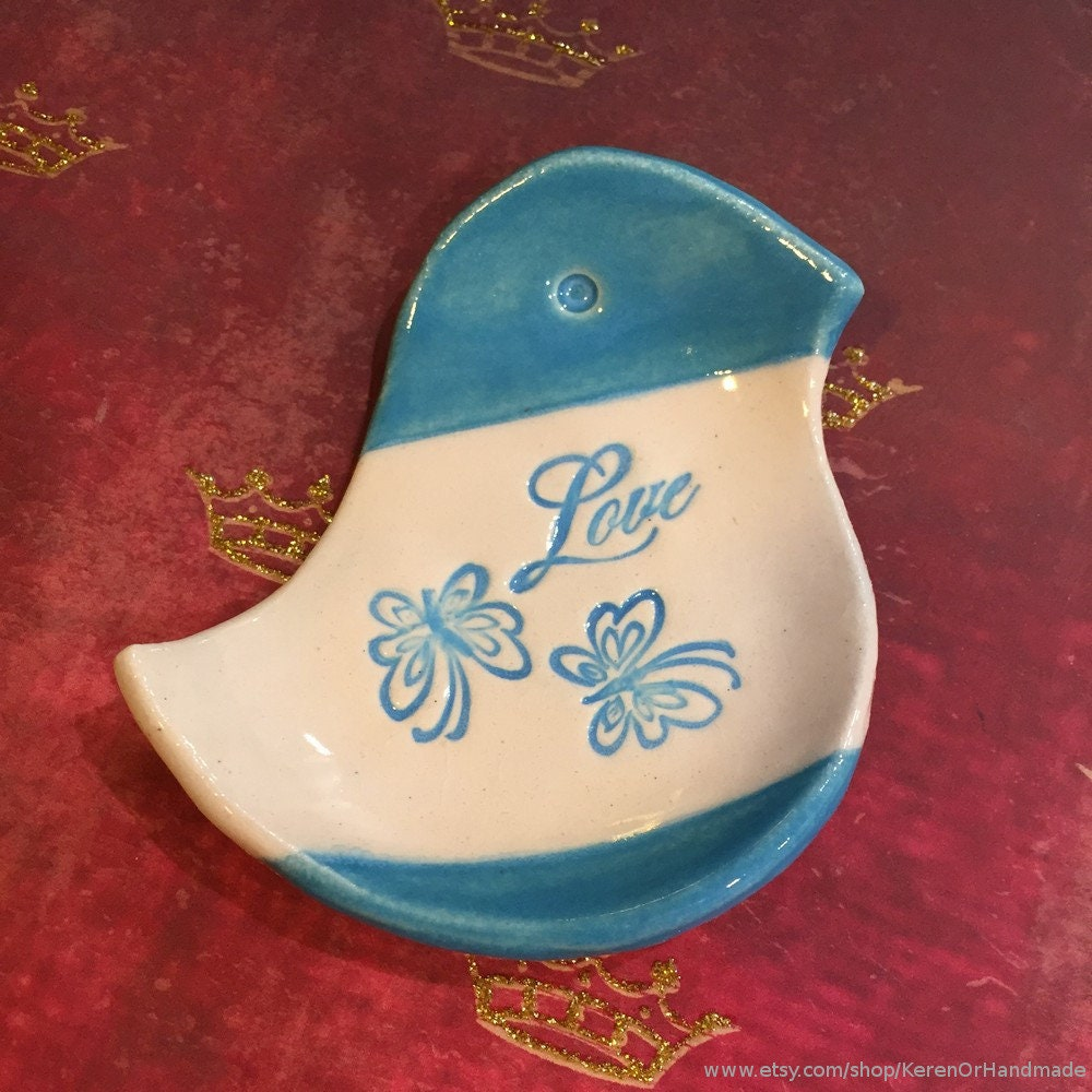 Bird shaped blue ring dish, bird shaped ring holder, ceramic bird ring dish, ceramic teabag holder, Valentines day gift, love home decor
