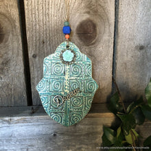 Load image into Gallery viewer, Hamsa wall hanging, hamsa wall art, hamsa wall decor, hamsa hand wall art, ceramic hamsa hand wall hanging, hamsa amulet, dream wall art