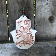 Load image into Gallery viewer, Ceramic Hamsa, Hamsa wall hanging, hamsa wall art, hamsa wall decor, love wall art, hamsa hand wall art, Hamsa wall hanging, hamsa amulet