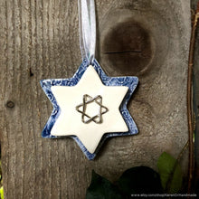 Load image into Gallery viewer, Star Of David wall art, ceramic Star of David, Magen David, Star of David ornament, Hanukkah ornament, Jewish home decor