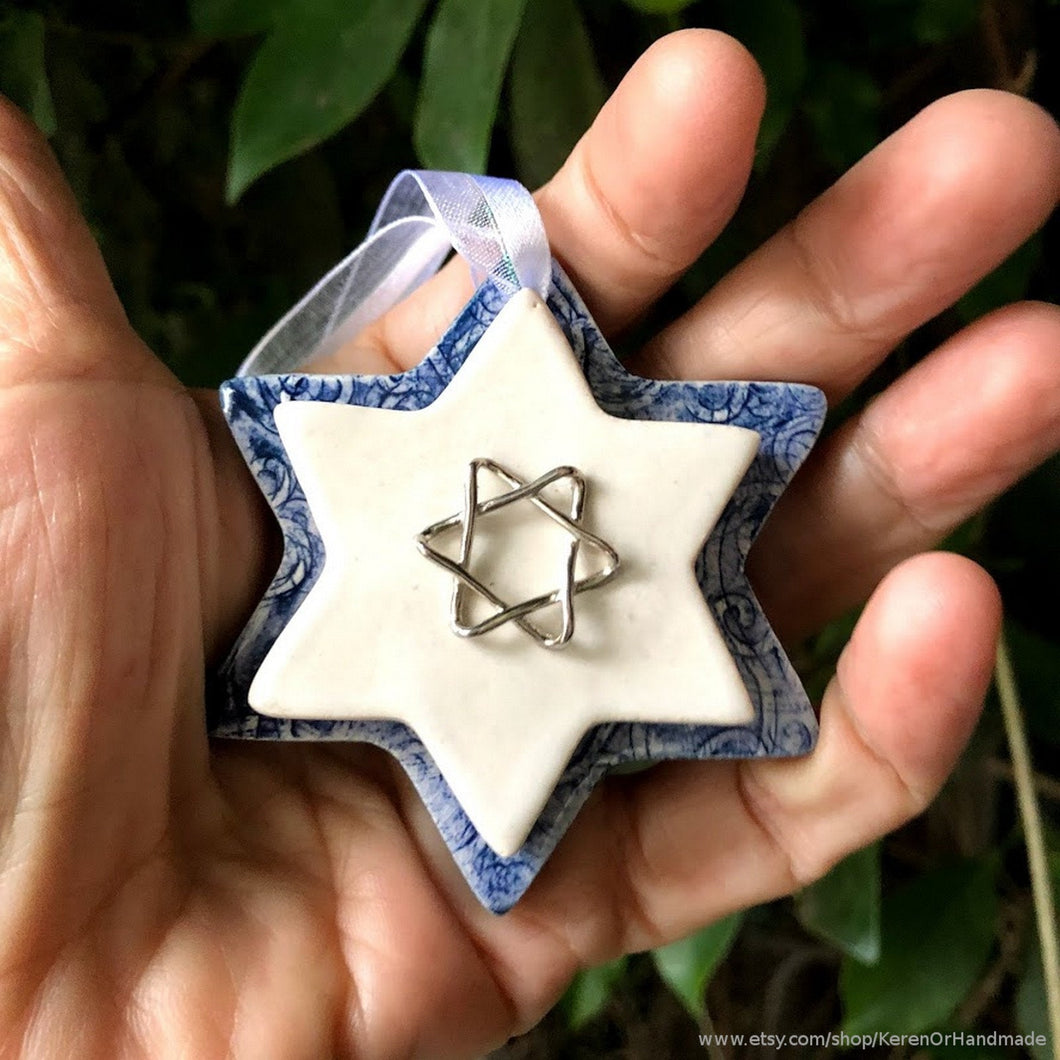 Star Of David wall art, ceramic Star of David, Magen David, Star of David ornament, Hanukkah ornament, Jewish home decor