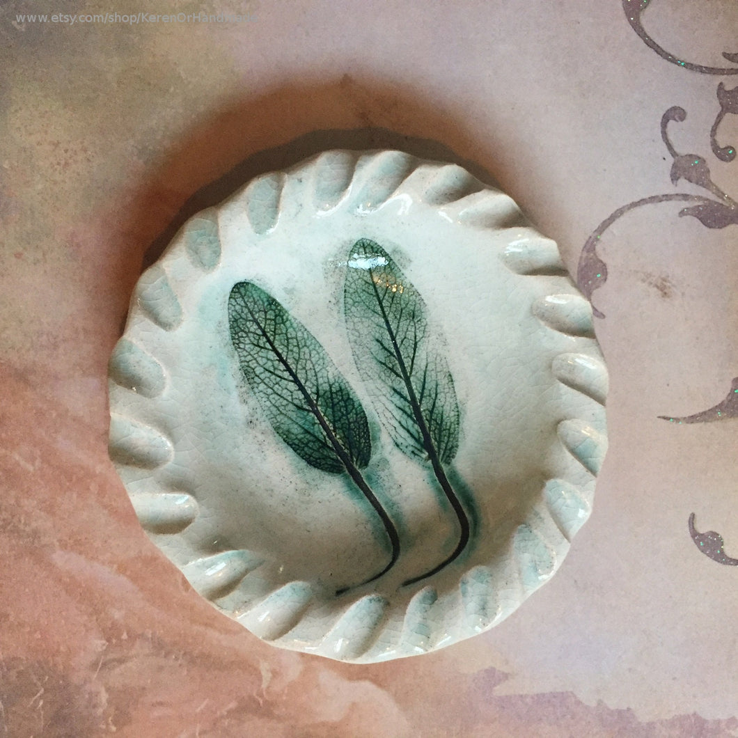 Sage leaves Ceramic bowl, Ceramic ring dish, Spoon rest, Sage leaves decor, Teabag holder, Jewelry dish, Soap dish, trinket dish