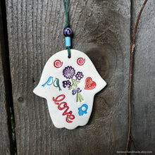 Load image into Gallery viewer, Hamsa, Ceramic Hamsa Hand, Hamsa Wall Decor, love wall art, Handmade ceramic hamsa, lovebird wall art, Valentines day gift, חמסה, good luck