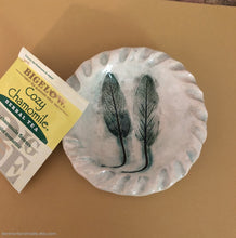 Load image into Gallery viewer, Sage leaves Ceramic bowl, Ceramic ring dish, Spoon rest, Sage leaves decor, Teabag holder, Jewelry dish, Soap dish, trinket dish