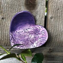 Load image into Gallery viewer, Heart shaped ring dish, heart shaped ring holder, ceramic heart ring dish, ceramic teabag holder, purple dish, ceramic candle holder