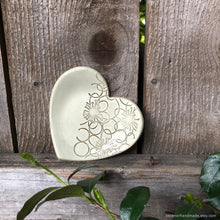 Load image into Gallery viewer, Heart shaped ring dish, heart shaped ring holder, ceramic heart ring dish, ceramic teabag holder, circle decor, ceramic candle holder