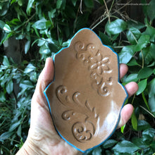 Load image into Gallery viewer, Ceramic brown Hamsa dish, Ceramic Hamsa bowl, Ceramic spoon rest, Jewelry bowl, Ceramic hamsa, Ring dish, Soap dish, Good Luck symbol