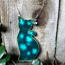 Load image into Gallery viewer, Ceramic Cat wall decor, Handmade Ceramic Cat, Ceramic Cat ornament, green cat, tabby cat, car ornament, car mirror, Cat lovers gift