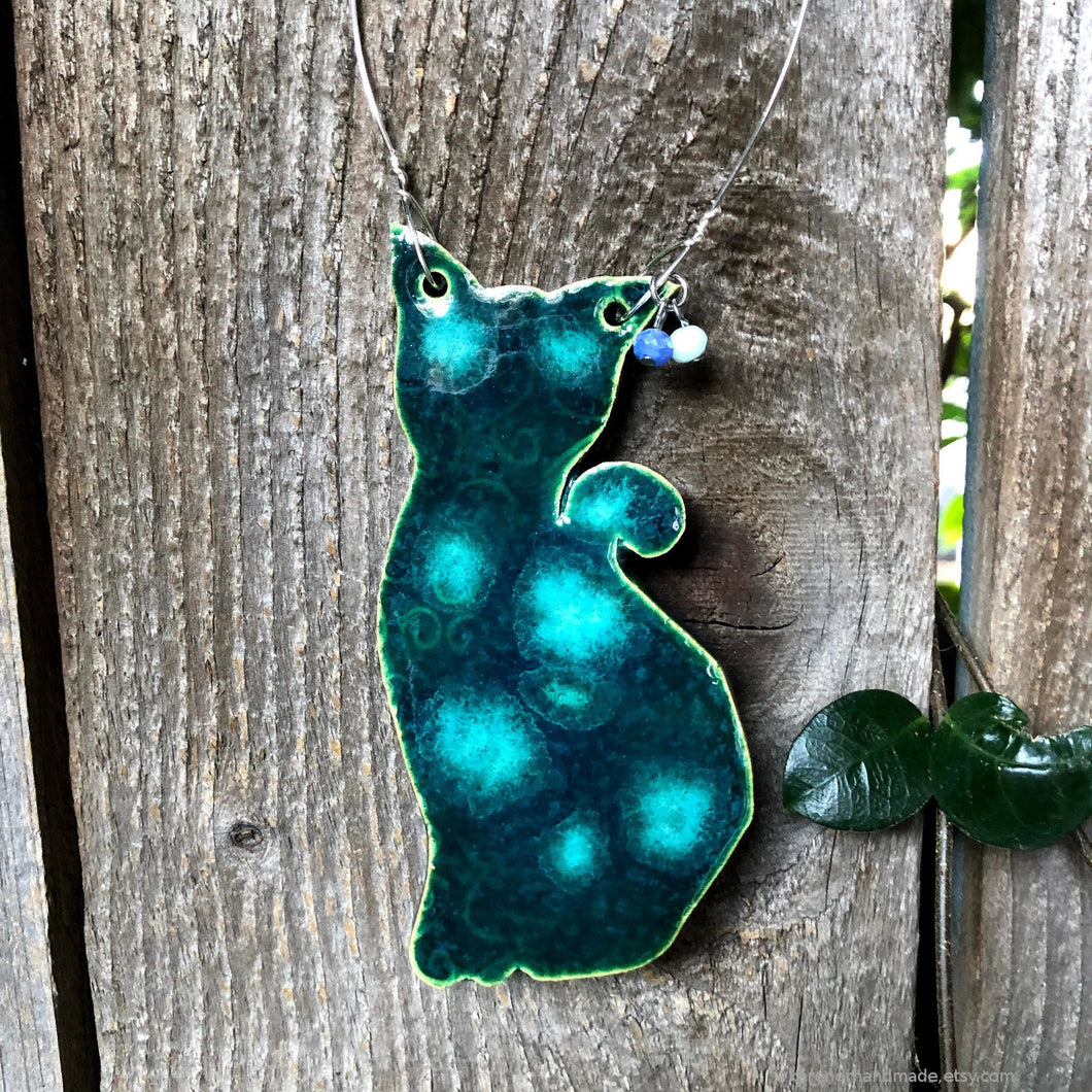 Ceramic Cat wall decor, Handmade Ceramic Cat, Ceramic Cat ornament, green cat, tabby cat, car ornament, car mirror, Cat lovers gift