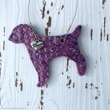 Load image into Gallery viewer, Ceramic Labrador wall decor, handmade labrador retriever, purple dog ornament, car mirror charm, Mothers day gift, dog lovers gift