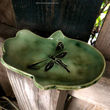 Load image into Gallery viewer, Ceramic hamsa dish, hamsa ring dish, green hamsa dish, dragonfly, Mothers Day gifts, hamsa hand dish, hamsa protection, tealight holder