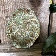 Load image into Gallery viewer, Ceramic ring dish, ceramic jewelry dish, trinket dish, Teabag holder, Spoon rest, trinket dish, ceramic Green dish, Soap dish, Candle holder