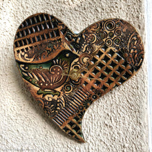 Load image into Gallery viewer, Ceramic wall clock, heart shaped ceramic wall clock, heart clock, birds wall clock, brown heart wall clock, kitchen wall clock, bird clock