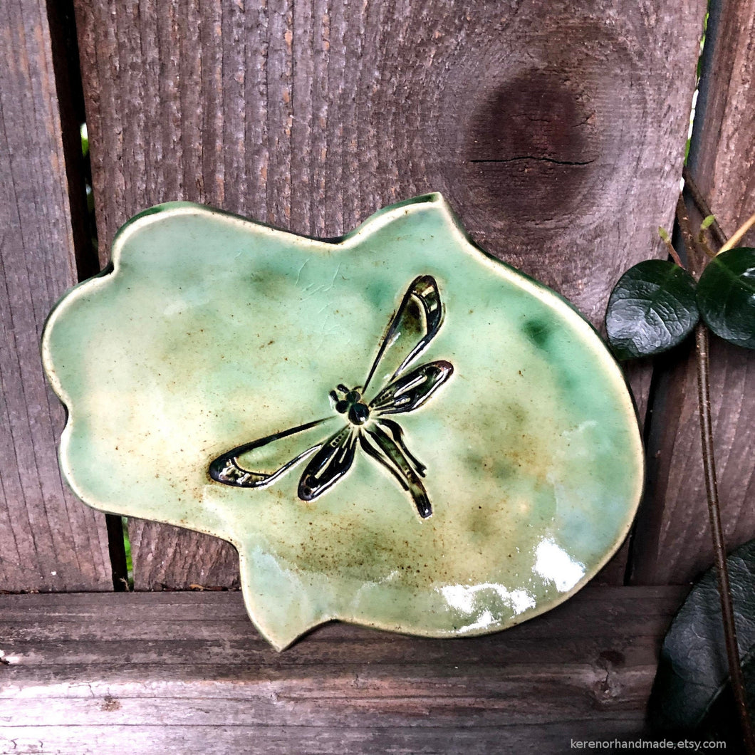 Ceramic hamsa dish, hamsa ring dish, green hamsa dish, dragonfly, Mothers Day gifts, hamsa hand dish, hamsa protection, tealight holder