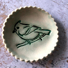 Load image into Gallery viewer, Ceramic ring dish, ceramic jewelry dish, teabag holder, tealight holder, scalloped dish, Spoon rest, bird decor, Soap dish, trinket dish