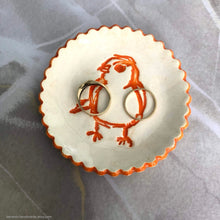 Load image into Gallery viewer, Ceramic ring dish, ceramic jewelry dish, teabag holder, tealight holder, scalloped dish, bridesmaid gift, orange bird dish, Soap dish
