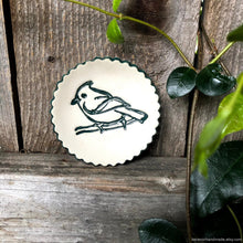 Load image into Gallery viewer, Ceramic ring dish, ceramic jewelry dish, teabag holder, tealight holder, scalloped dish, bridesmaid gift, green bird dish, Soap dish