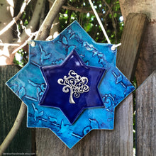 Load image into Gallery viewer, Ceramic Magen David, Star of David wall art, Jewish housewarming gift, Jewish house blessing, Tree of life, Etz Chaim, Jewish star, מגן דוד
