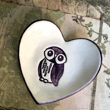 Load image into Gallery viewer, Heart shaped ring dish, heart shaped dish, owl dish, ceramic heart ring bowl, ceramic teabag holder, ceramic tealight holder, soap dish