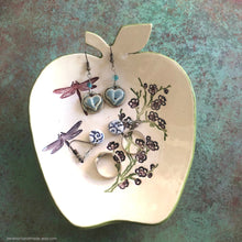 Load image into Gallery viewer, Ceramic ring dish, ceramic apple shaped dish, jewelry dish, graduation gift, tealight holder, teacher gifts, teachers gifts, trinket dish